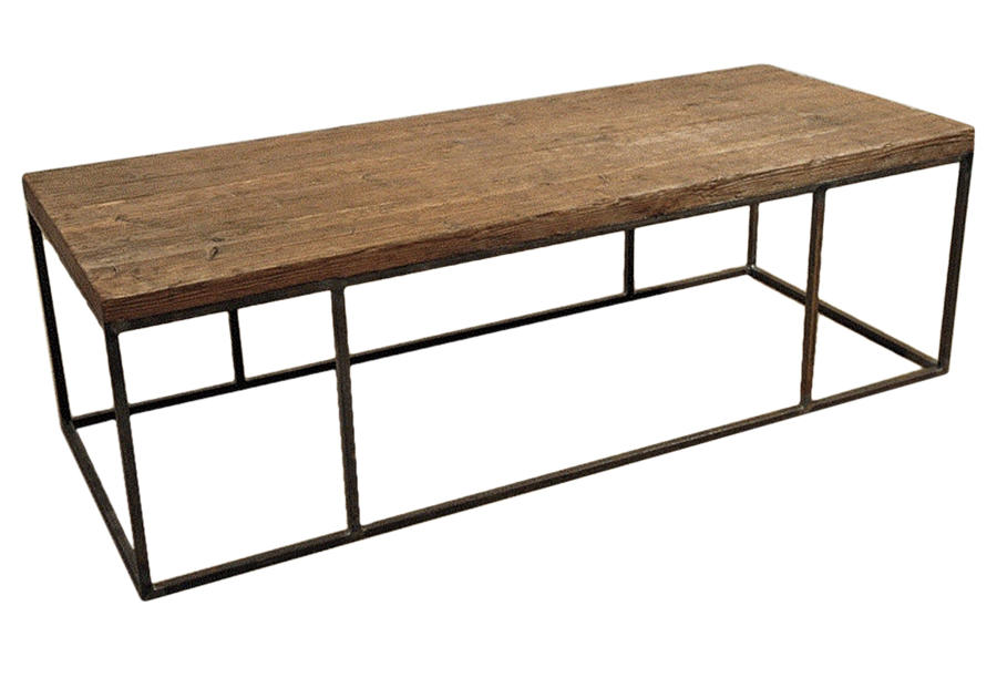 Custom Made Steel Frame Tables with Antique Wood