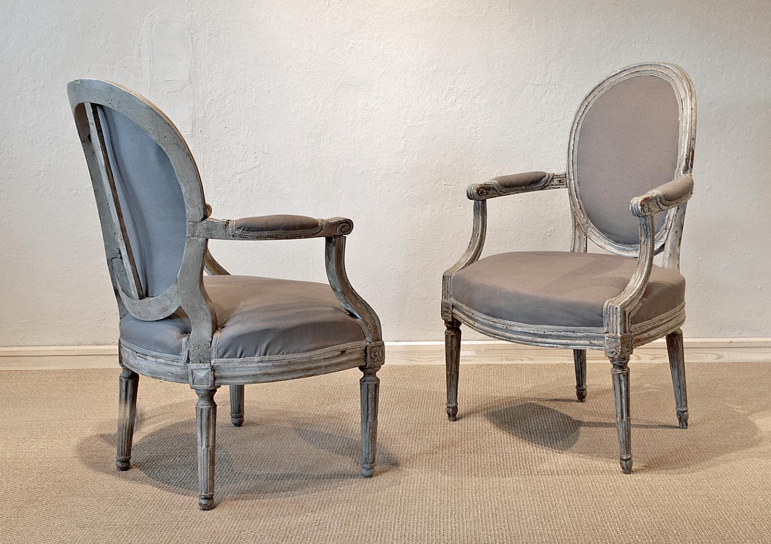 Two ca. 1780 Provencal Louis XVI Armchairs