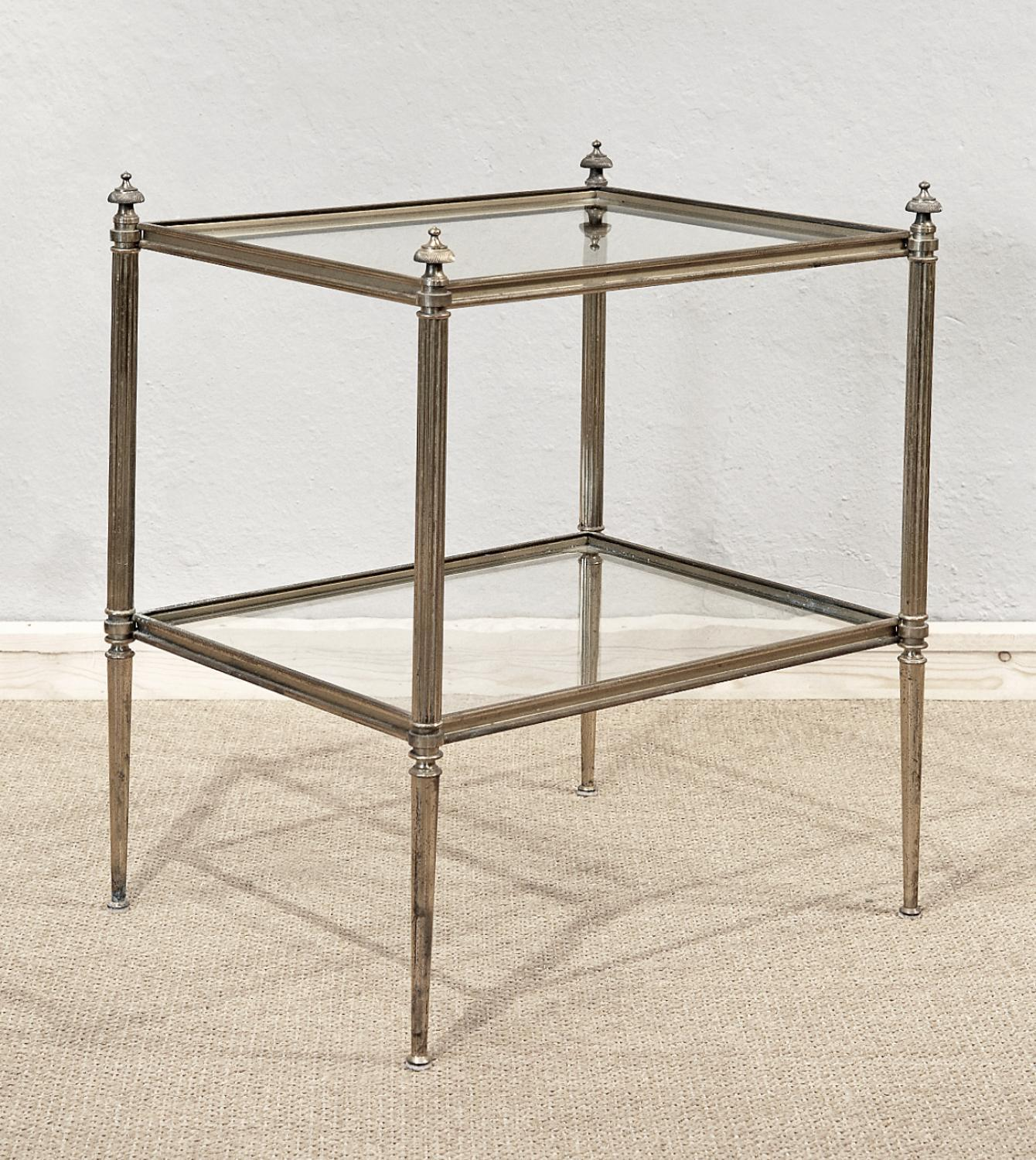 Elegant Brass And Glass Coffee Table: Elegant Small Brass And Glass Table In Tables