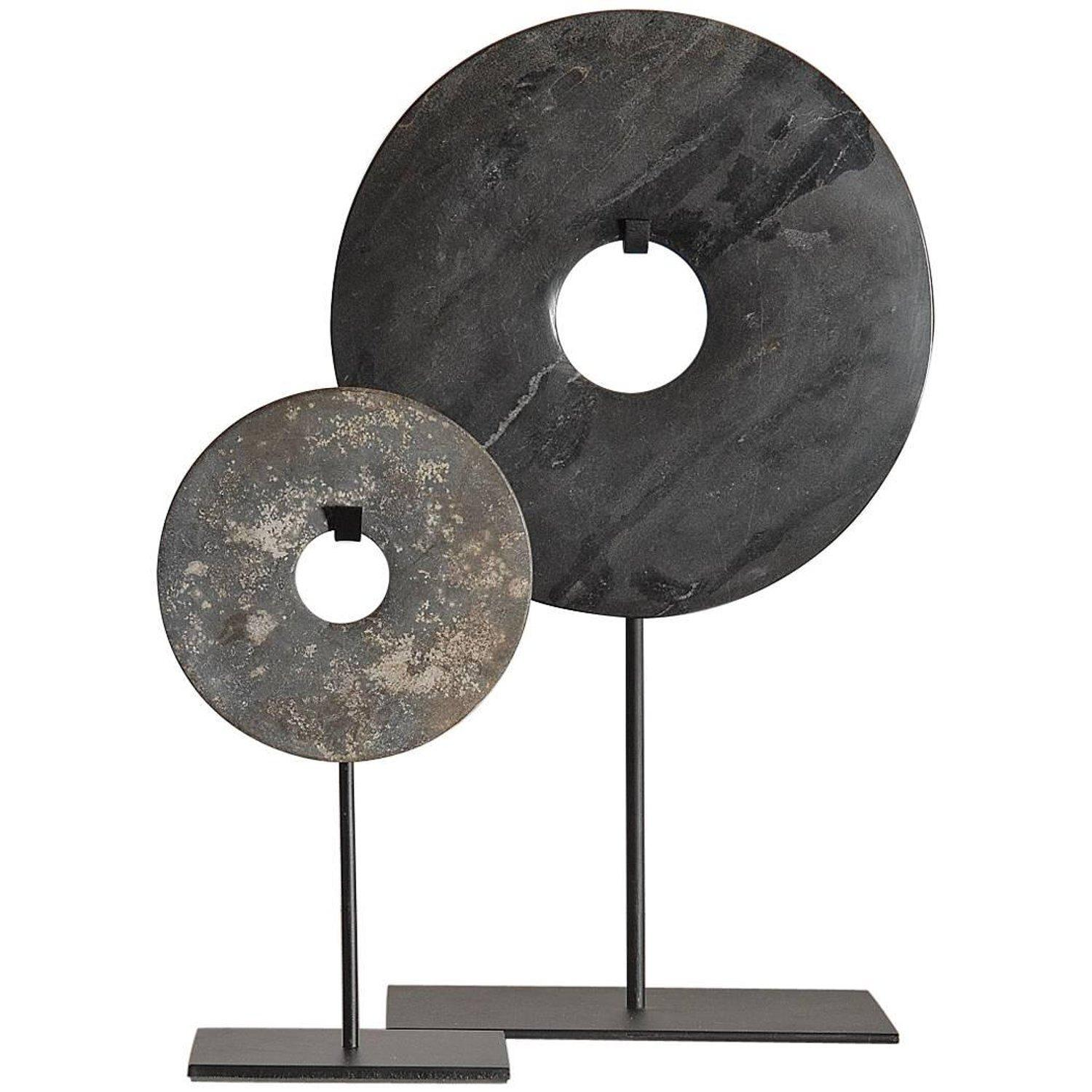Chinese Marble Bi Discs on Steel stand