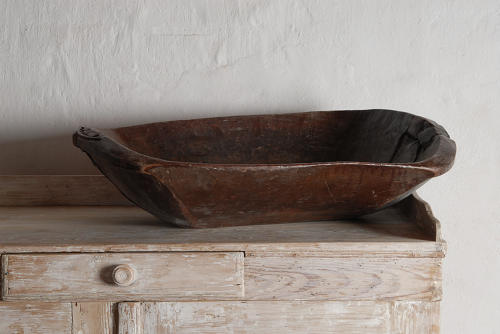 Very Large Antique Wooden Bowl, France, 19th Century