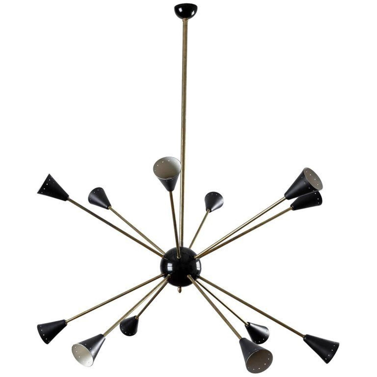 Large Stylish Italian 1950 Sputnik Chandelier in the Style of Stilnovo