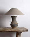 Near Pair of Chinese Han Lamps with Handmade Belgian Linen Shades - picture 4