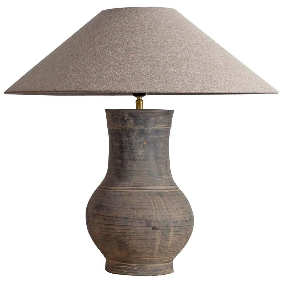 Chinese Han Lamp with Handmade Belgian Linen Shade
