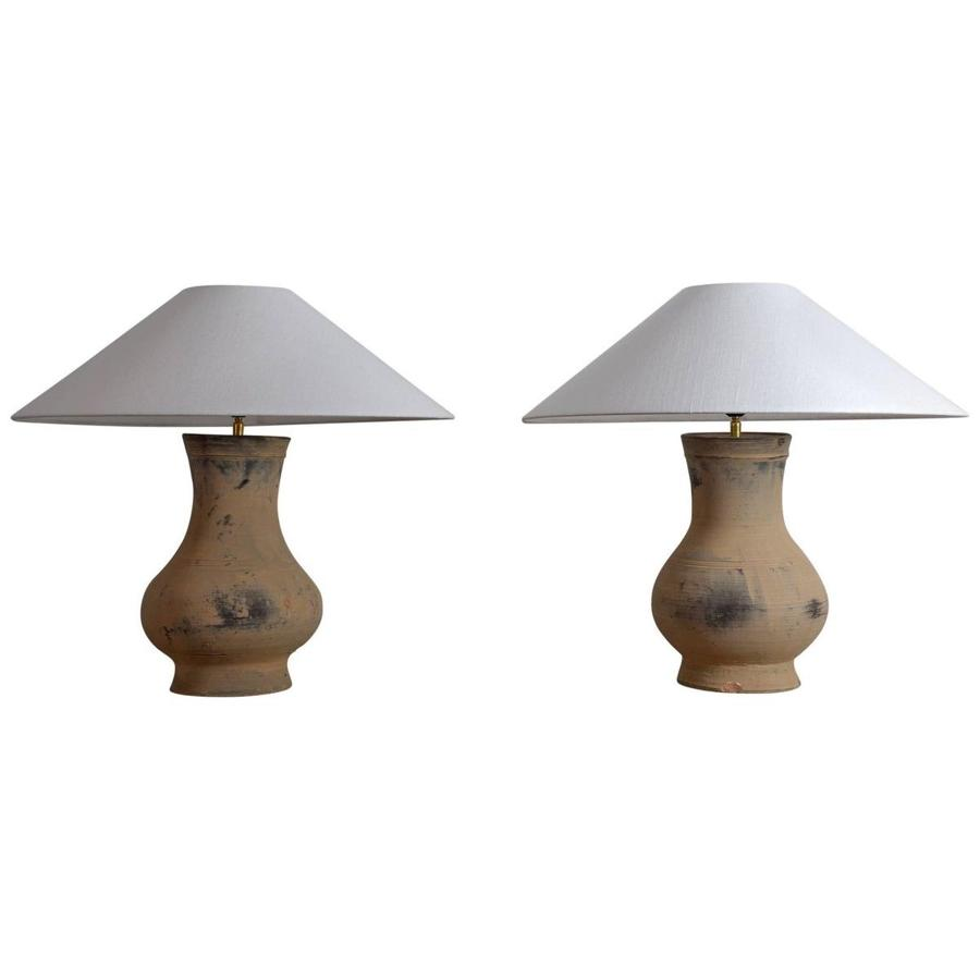 Near Pair of Chinese Han Lamps with Handmade Belgian Linen Shades