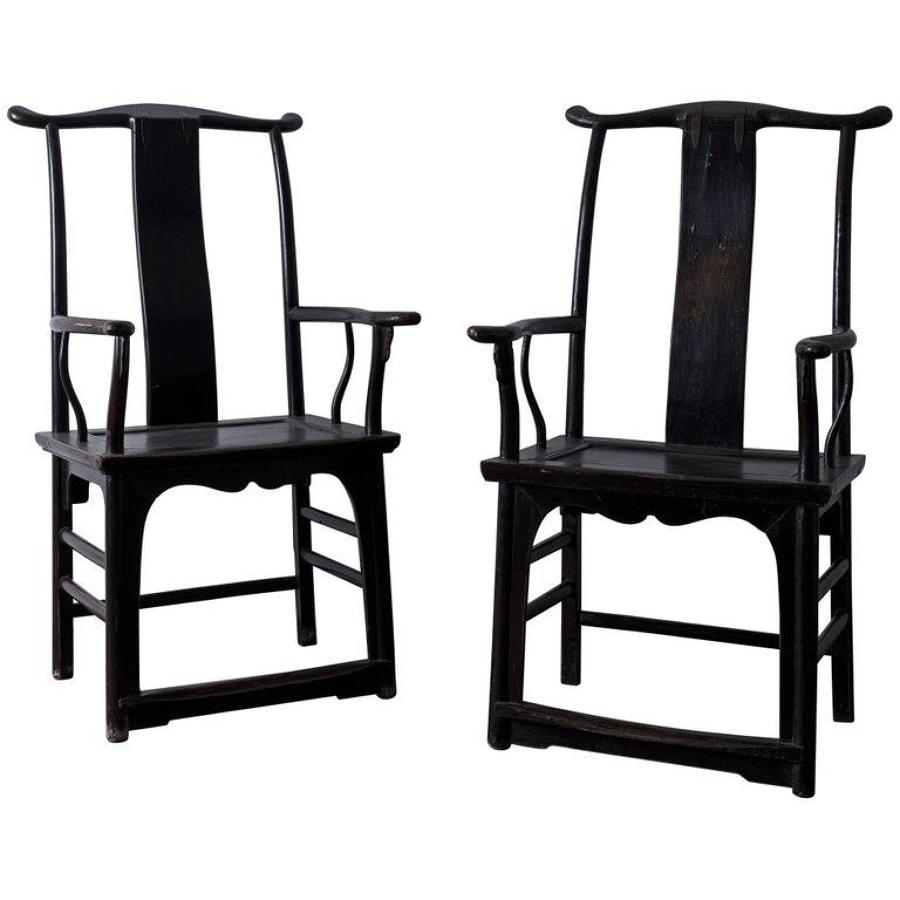 Pair of Large Chinese Late 19th Century Armchairs