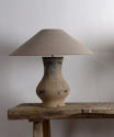 Near Pair of Chinese Han Lamps with Handmade Belgian Linen Shades - picture 2