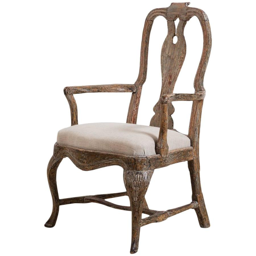 Swedish, 18th Century Baroque Armchair in Original Paint