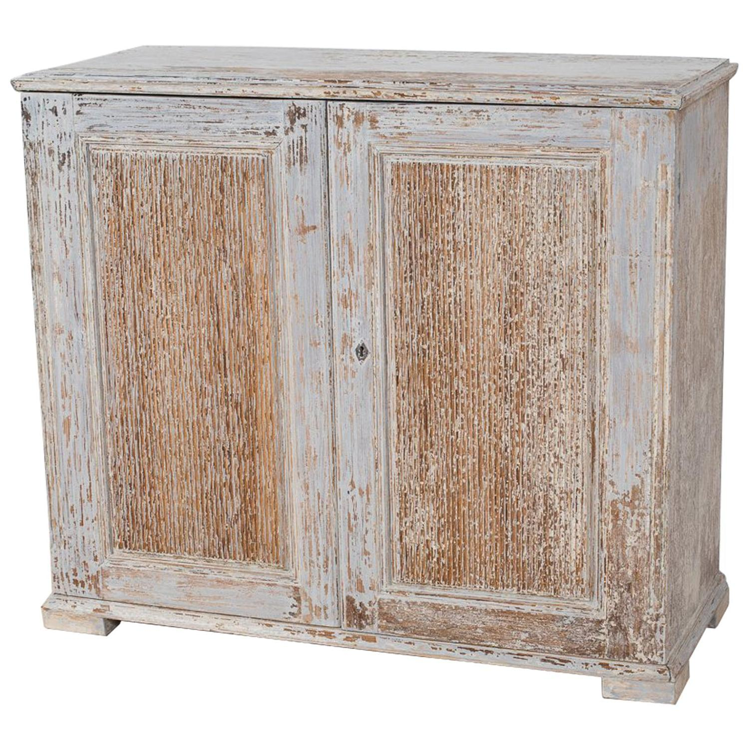 Swedish Period Gustavian Sideboard in Original Pale Blue Paint