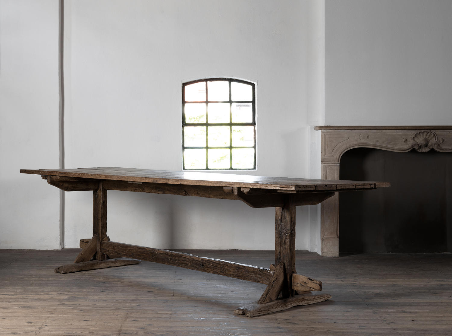 Exceptional Large French Montagnard Trestle Table, 18th Century