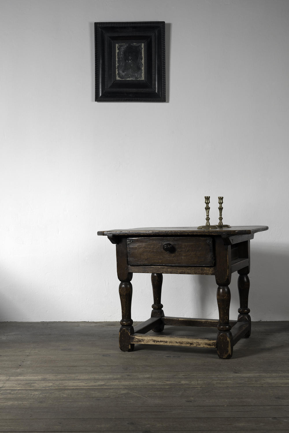 Rustic Baroque Swedish Side Table, 18th Century