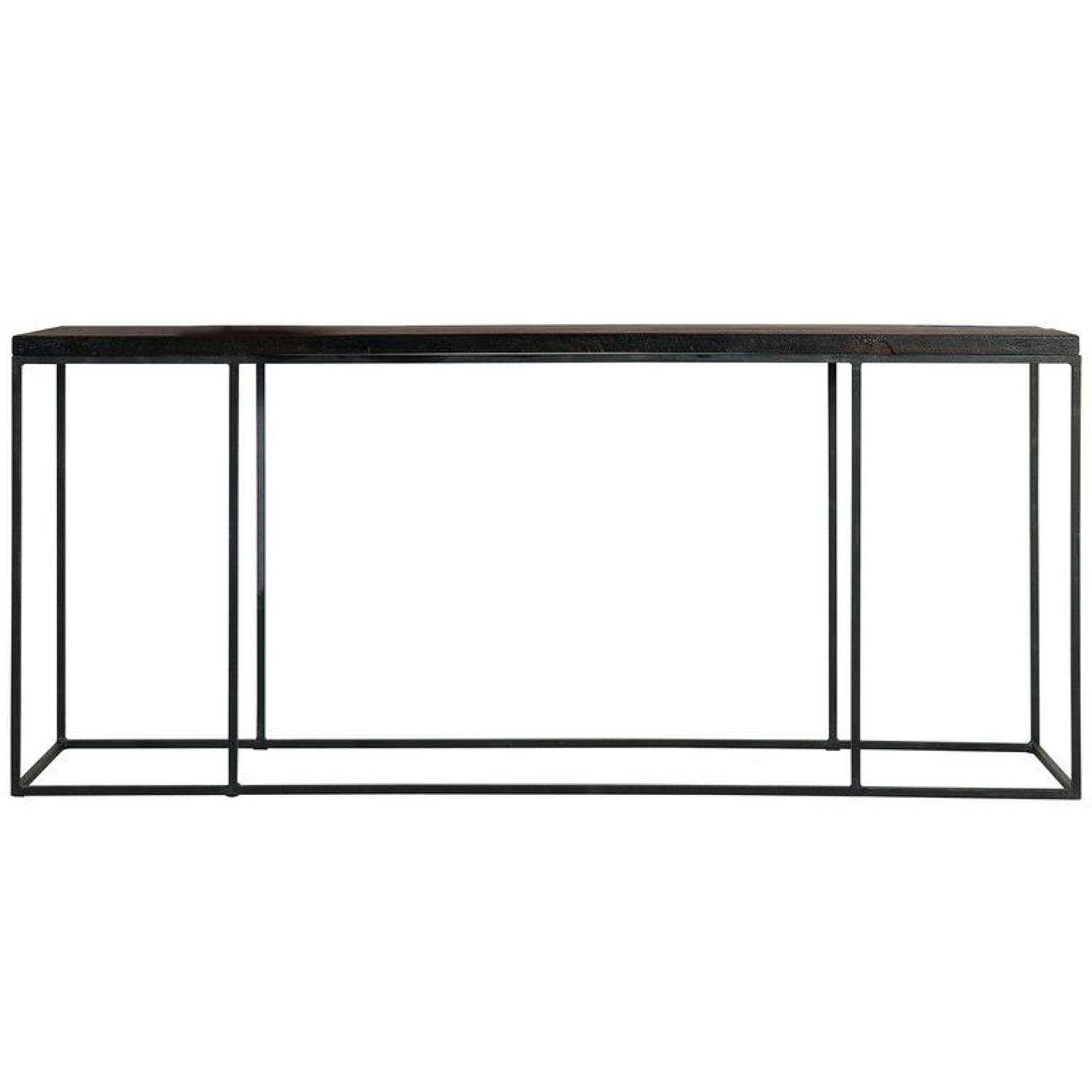 Stylish Modern Console Table with Antique Oakwood Top