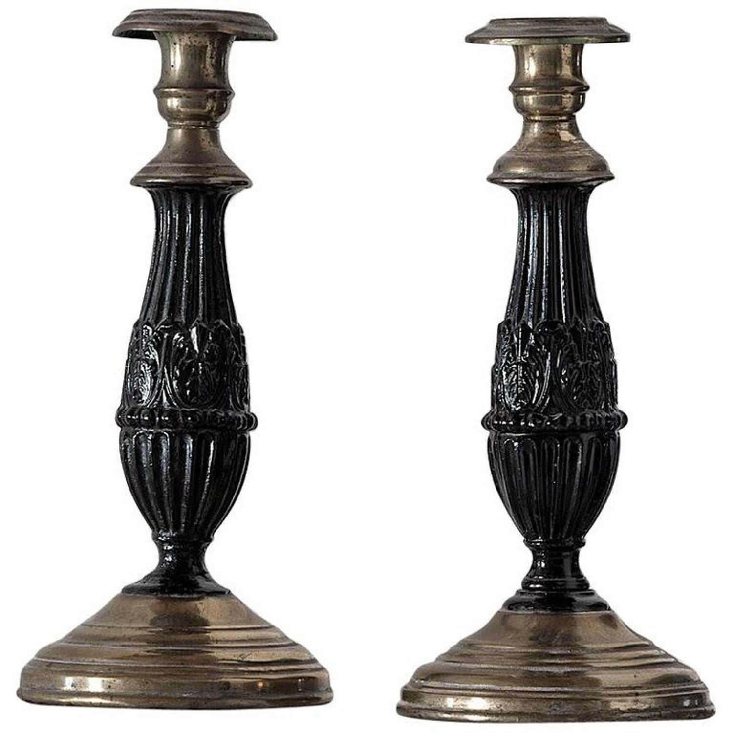 Pair of Chic Empire Candlesticks, circa 1810