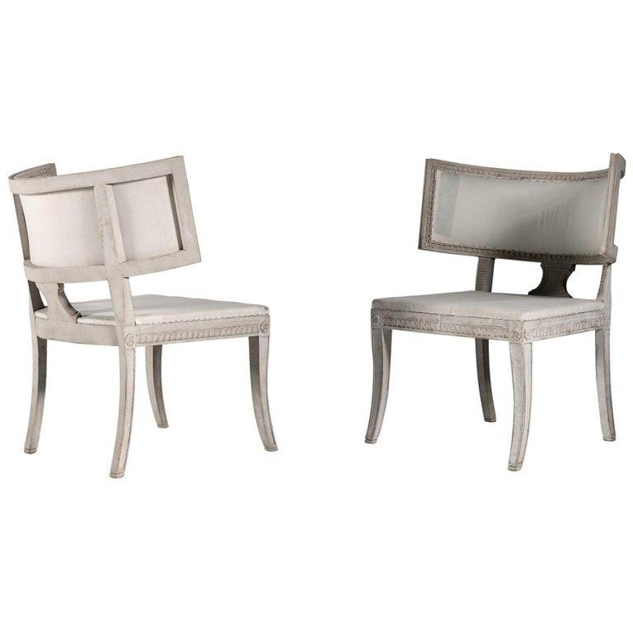 Rare Pair of Large Gustavian Klismos Chairs