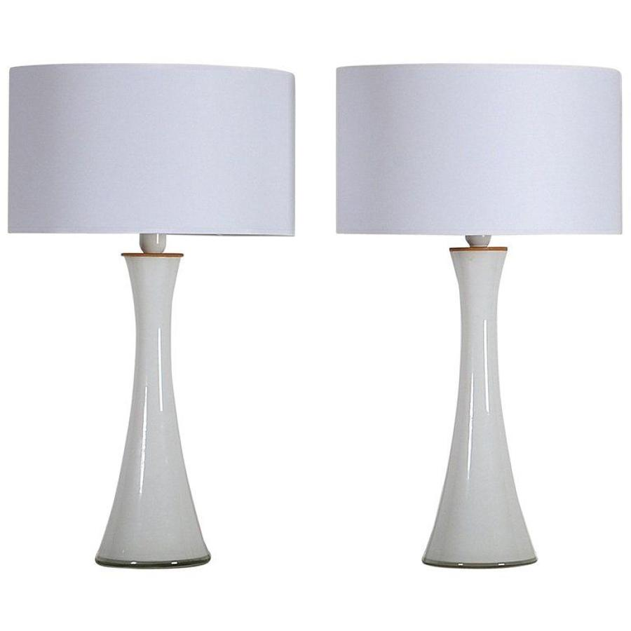 Chic Bergboms Pair of Glass with Teak Table Lamps, Sweden,1960